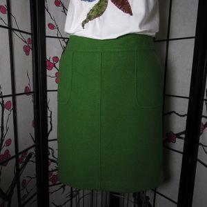 Pencil skirt, Talbots green wool pencil skirt, gre